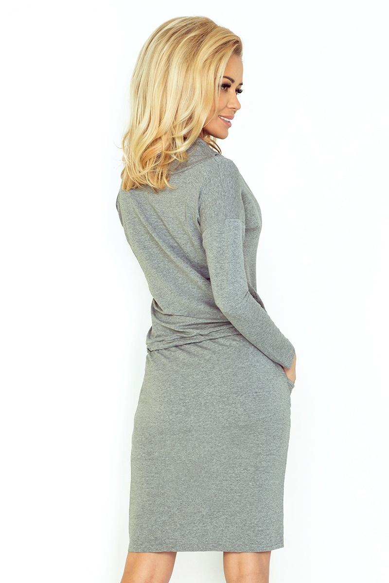 5441f6f024 44-2 Sukienka sportowa z golfem - ŚREDNI SZARY - pętelka    numoco