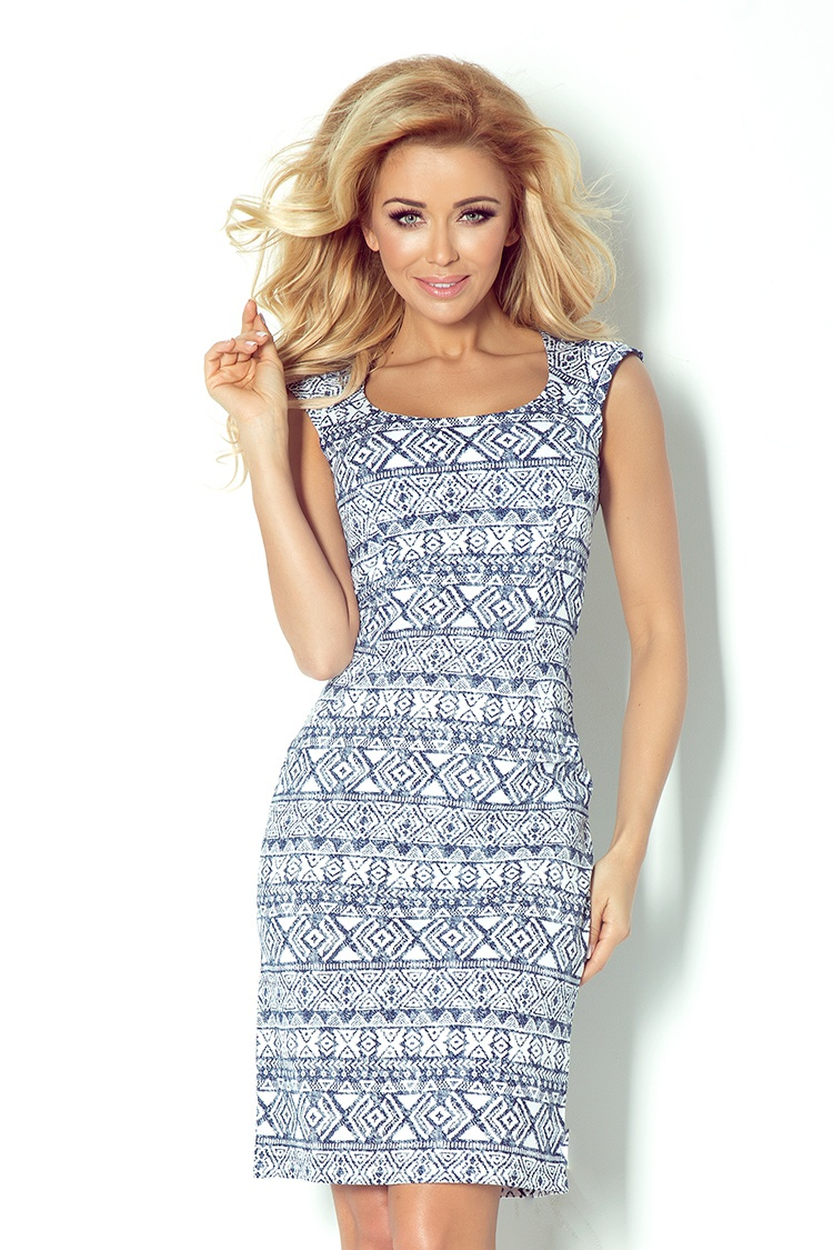 53-14 padnúce šaty - béžová navy blue + etnické vzory