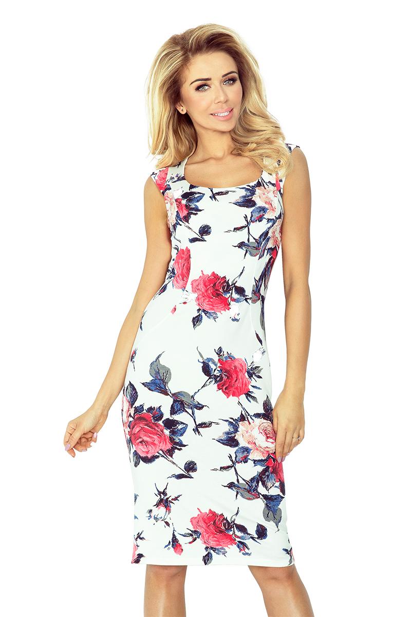 53-30 priliehavé šaty - veľké farebné kvety