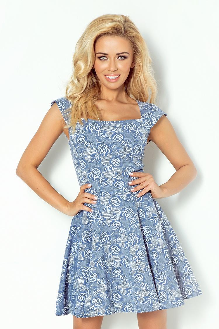 58-4 Exkluzívne motýľ šaty - námornícka modrá kvetinovým vzorom