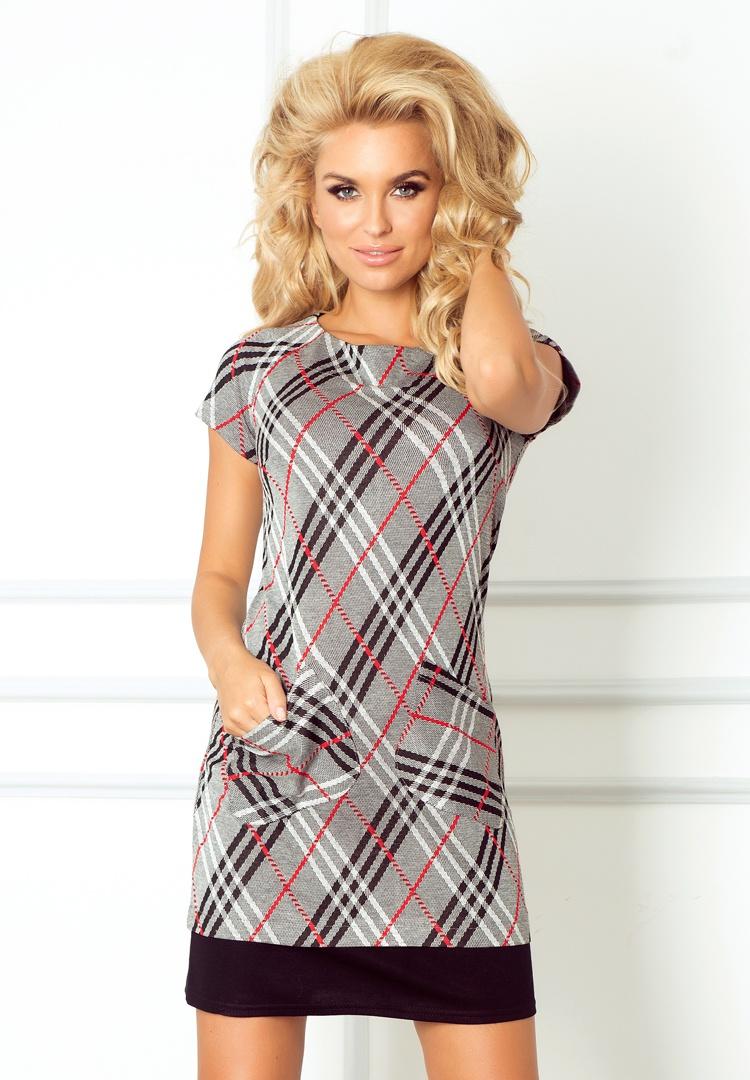 62-1 šaty s vreckami v červeno-šedý kockovaný
