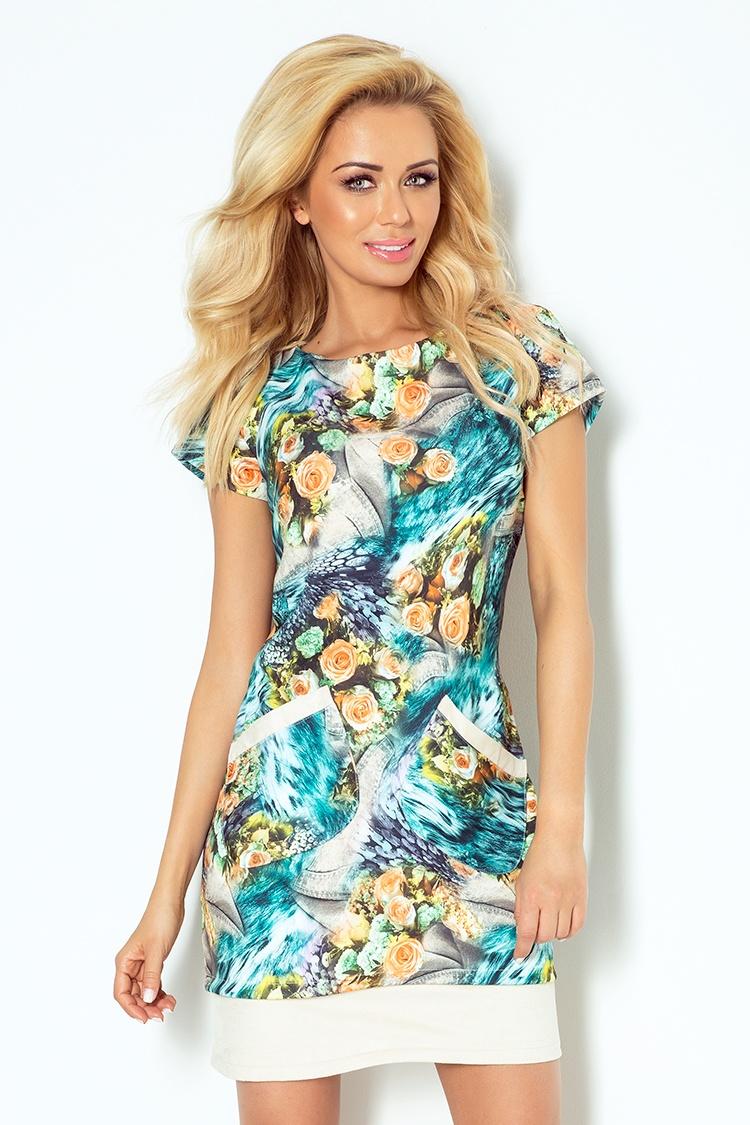62-4 šaty s vreckami - kamzík béžová + modro-oranžové kvety