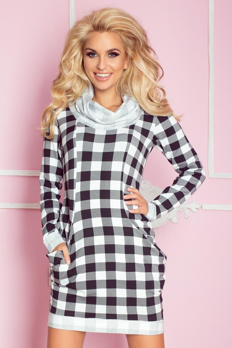71-1 Golf - sukienka z dużymi kieszeniami - czarno biała krata