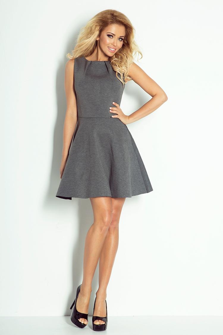 78-1 šaty s záhyby na krku - Foam - grafitovo šedým