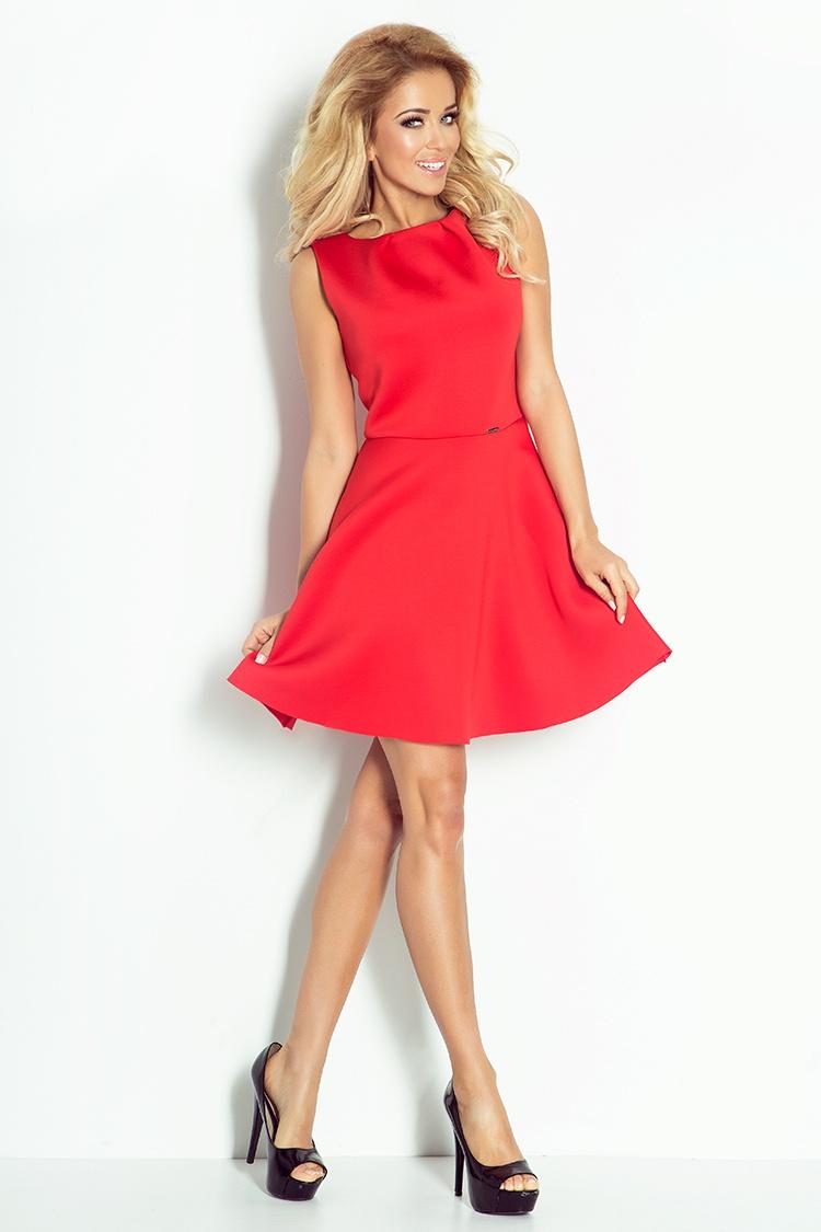 78-3 šaty s záhyby na krku - Foam - červená