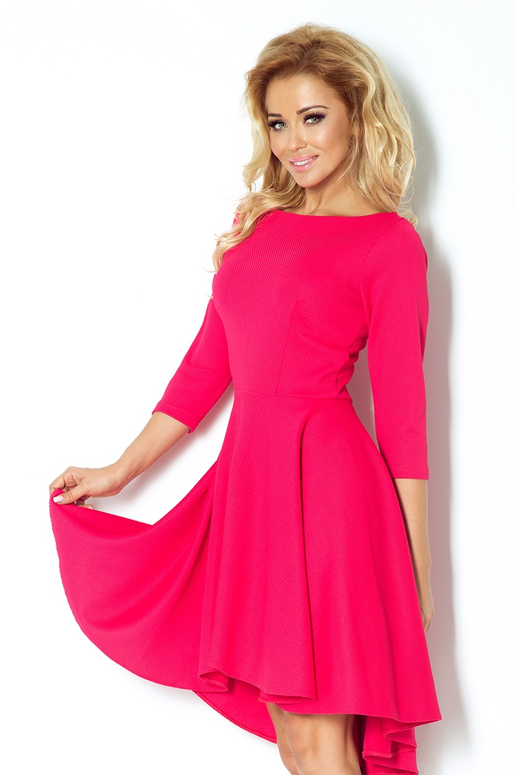 90-2 šaty s 3/4 rukávmi a predĺžený zadný diel - Raspberry