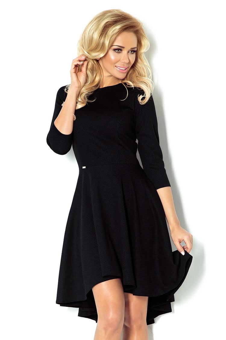 90-3 šaty s 3/4 rukávmi a predĺžený zadný diel - Black