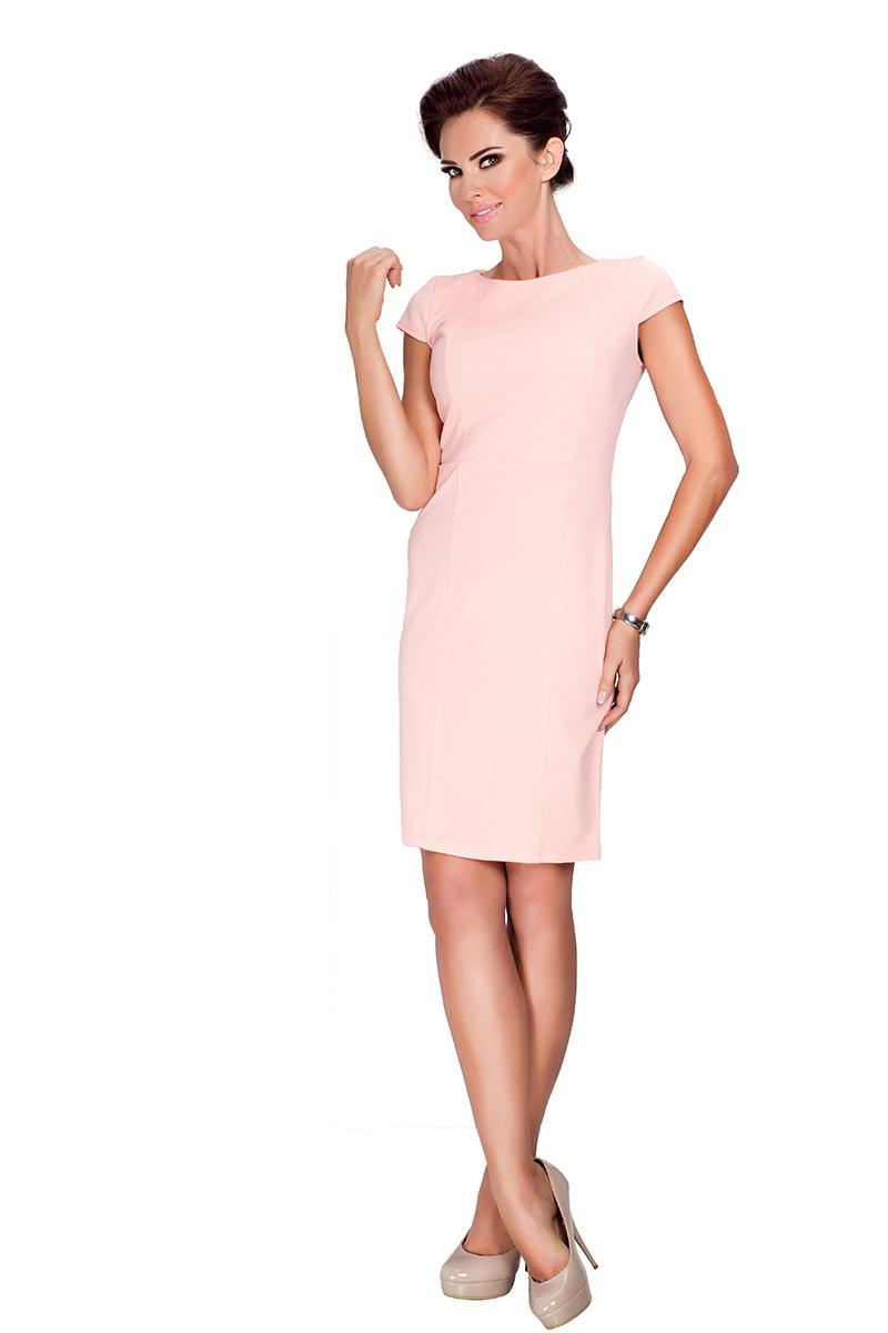 685fa02357 37-1 Elegancka sukienka z krótkim rękawkiem - Brzoskwinia    numoco