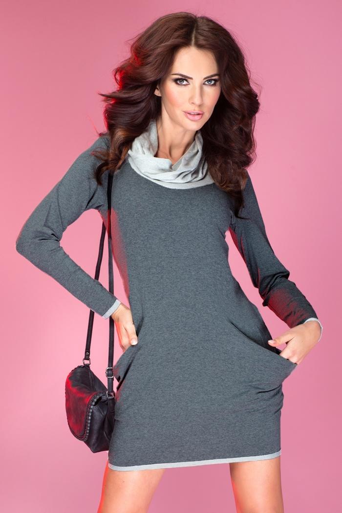 43-1 Golf - šaty s veľkými vreckami - grafit so slučkou
