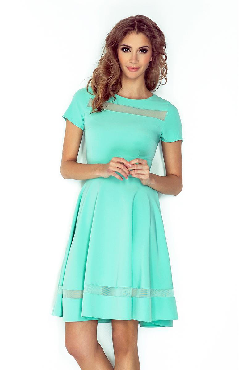 dfeec86161 MM 003-1 Sukienka midi z tiulowymi pasami - MIĘTOWA    numoco