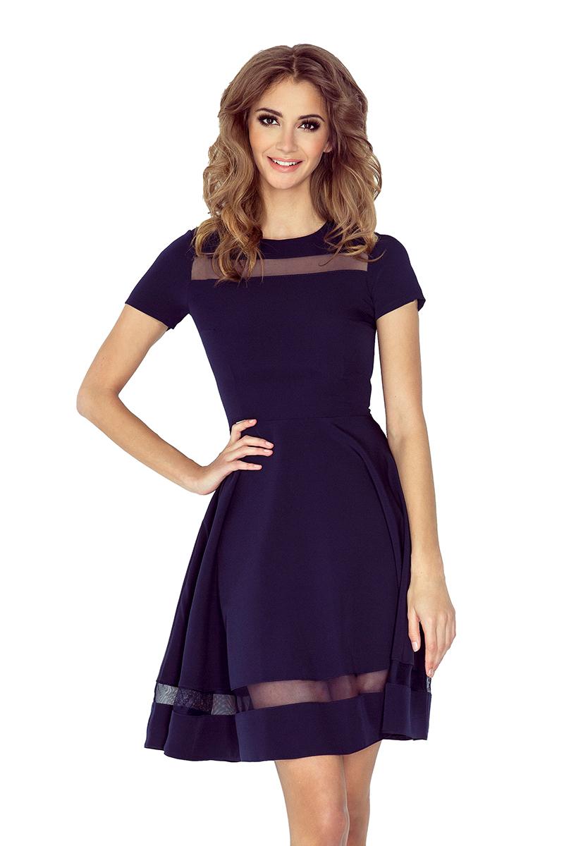 MM 003-2 midi šaty s tiulowymi pruhy - navy
