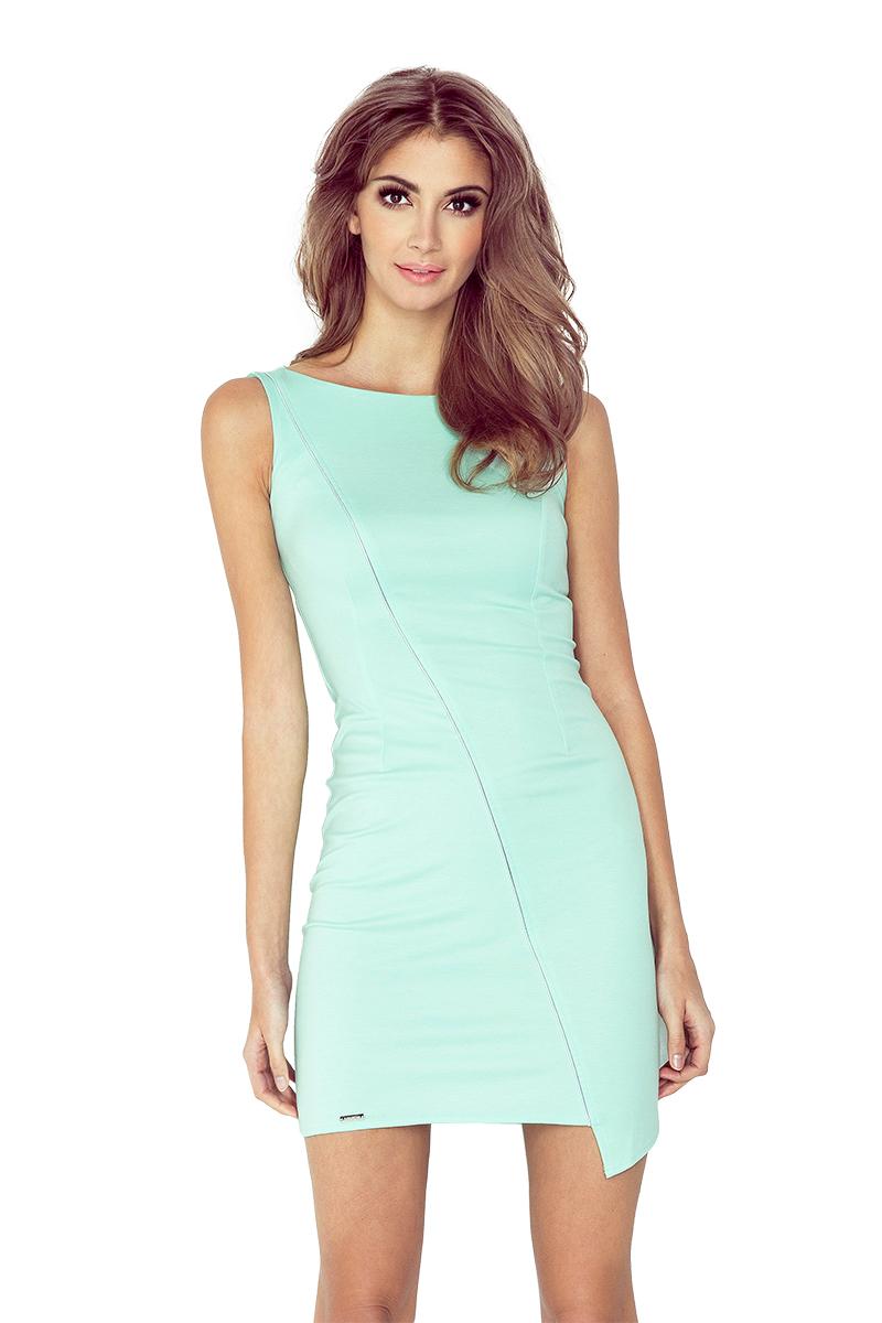 MM 004-3 šaty s asymetrickým lemom - MINT
