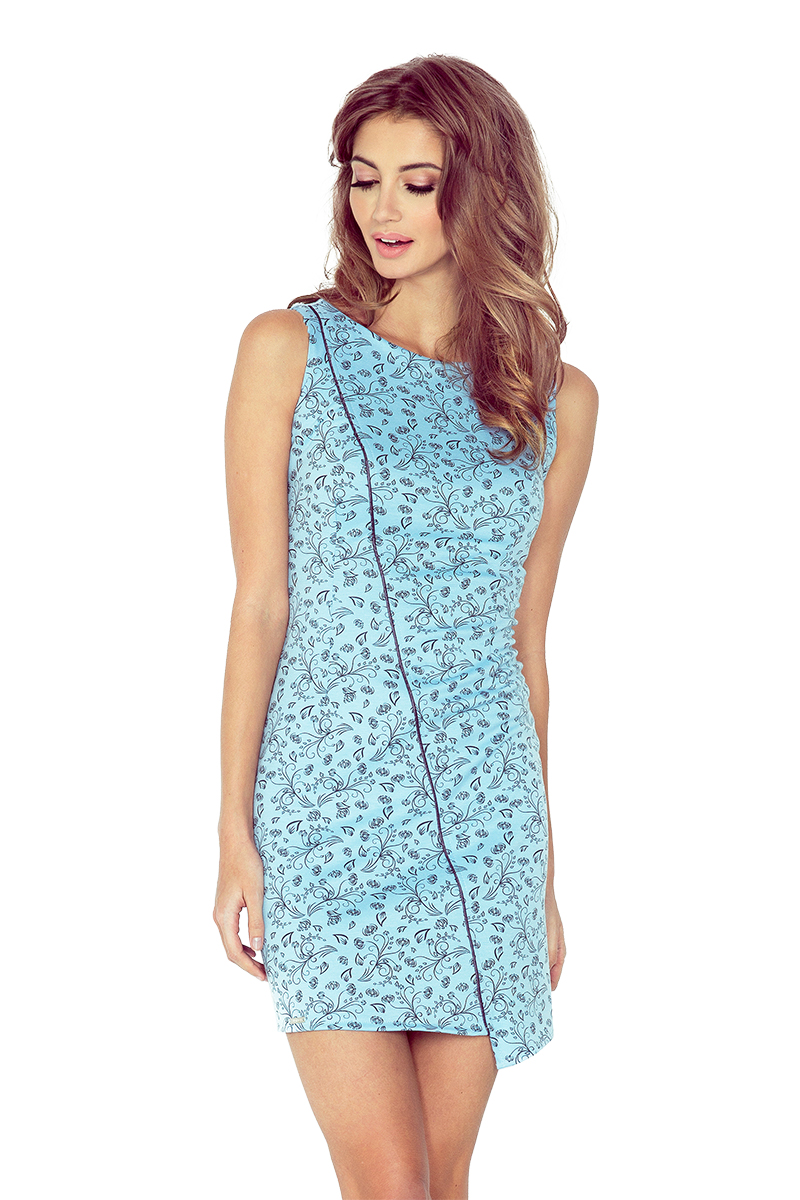 MM 004-5 šaty s asymetrickým lemom - BLUE v čiernych kvetín