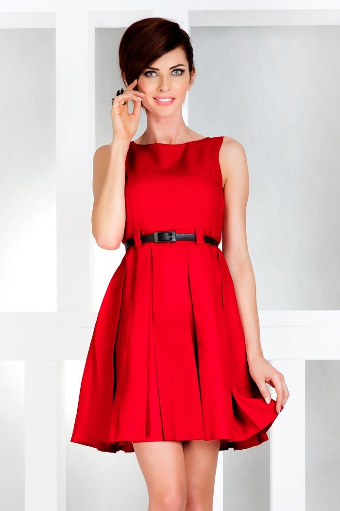 Šaty contrafold - červená 6-11